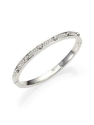 Michael Kors Silver-Tone Crystal Hinge Bangle Bracelet