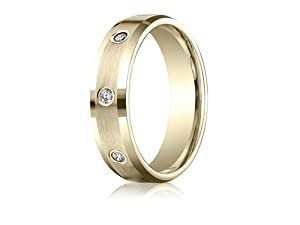 Benchmark® 6mm Round 0.32 cttw Diamonds Mens Band in 14 kt Yellow Gold Size 7.5