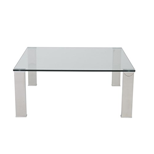 Euro Style Beth Clear Glass Top Polished Stainless Steel Square Coffee Table