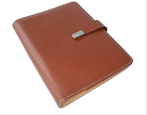 高級感 溢れる 革製 システム 手帳 6穴 リング A5 サイズ 名刺 カード入れ ペンホルダー付 選べる2色 (1 ブラウン)