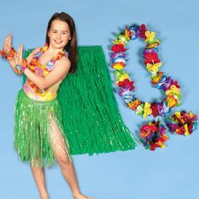 Child Hula Kit - 4 Pc Set Includes Hula Skirt, Flower Lei and 2 Lei Bracelets