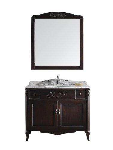 Virtu USA GS-4140-DW Kaileena 41-Inch Single Sink Bathroom Vanity with Italian Carrera Marble Countertop, Backsplash, Dark Walnut Finish