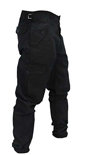 WWK Mens Army Combat Work Trousers Pants Combats Cargo - Black - 38