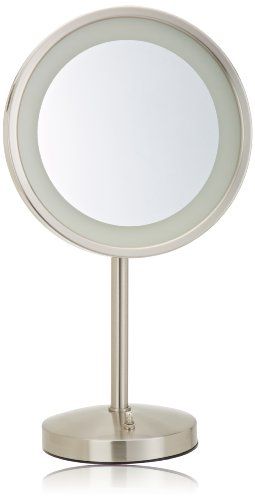 Jerdon Hl1015Nl 9.5-Inch Tabletop Led Halo Lighted Mirror With 5X Magnification And Built-In Electrical Outlet, 17-Inch Height, Nickel Finish