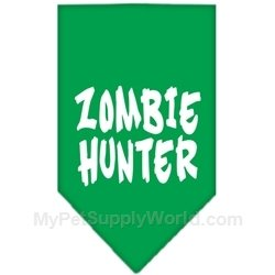 Zombie Hunter Screen Print Bandana- Emerald Green, Small