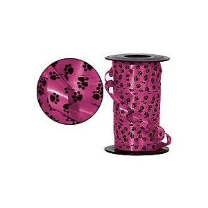 Black and Pink Paw Print Curling Ribbon
