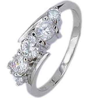 .925 Sterling Silver Promise Ring With Three Round Cubic Zirconias in Shared Prong Setting