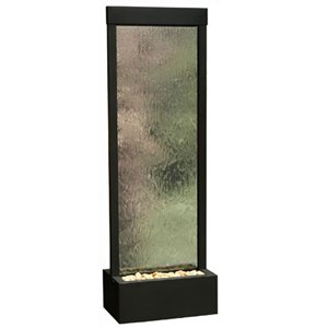 BluWorld 90 in. Indoor/Outdoor Floor Fountain - Clear Glass/Black Onyx Frame