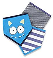 3 Pack Pure Cotton Monster Dribble Bibs