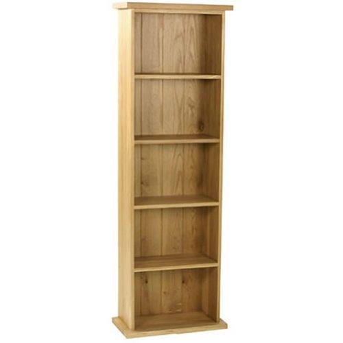 Oak DVD Rack - 5 Shelves - Solid Wood - Film Storage - Traditional Design