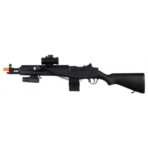 Double Eagle M806A2 M14 Electric Airsoft Gun Fps-300, Loaded W/ Tactical Accessories