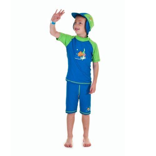 Swimfree Boys Sun UV Protective Beach Safari Swim Flap Hat For Kids Between 1 Year To 10 Years, Blu/Verde, Small for 2-4 Years