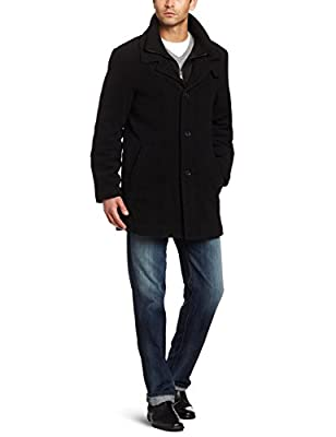 Calvin Klein Men's 3/4 Double Collar Wool Blend Over Coat