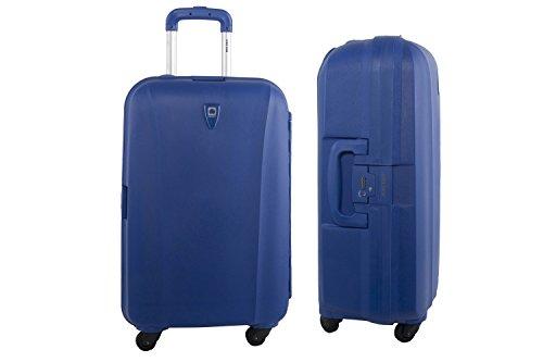 Valigia trolley grande rigida DELSEY blu bagaglio a 4 ruote S239