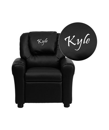Flash Furniture Personalized Black Vinyl Kids Recliner with Cup Holder and Headrest