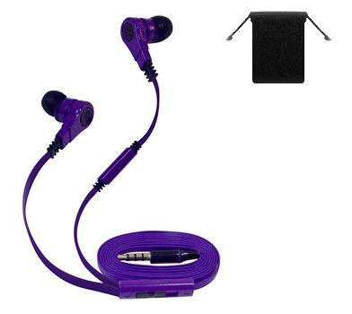 """3.5Mm Stereo Headset Earbuds Earphones Headphones W/ Microphone For Amazon Kindle Fire Hdx 7""""/ 8.9""""/ Hd 7""""/ 8.9"""" (Purple) + Carry Bag"""