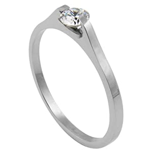 316L Stainless Contemporary Clear CZ Prong Engagement Ring - Size 14