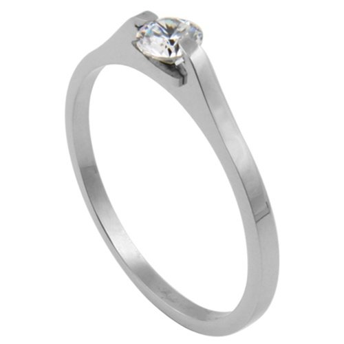 316L Stainless Contemporary Clear CZ Prong Engagement Ring - Size 8