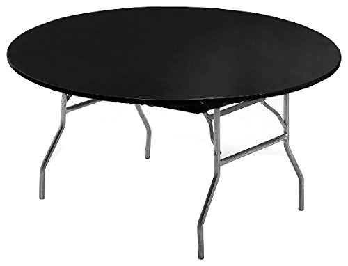 60 inch Round Plastic Stay Put Tablecover Black 12 Ct