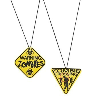 Zombie Warning Sign Necklaces (12 Pack)/Party Favors/Halloween/Goody Bags