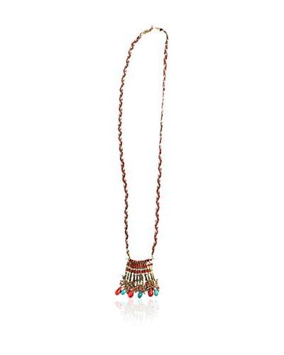 Alibey Collar largo trenzado cordón con cadena fina y detalle de colgante Azul