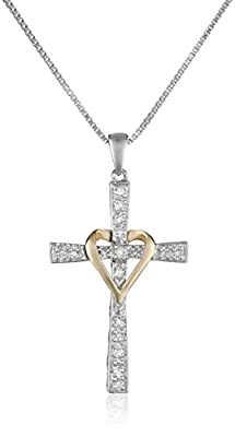 Sterling Silver and 14k Yellow Gold Diamond Cross My Heart Pendant Necklace, 18""