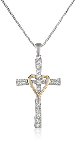 Sterling Silver and 14k Yellow Gold Diamond Cross and Heart Pendant Necklace, 18""