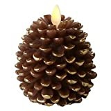 """Luminara 02186 - 3.5"""" x 4"""" Pine Cone Shape (Unscented) Battery Operated Realistic Flame LED Wax Candle Light with Timer"""