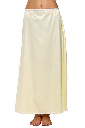 Avidlove Women Lingerie Slips Satin Snip-it Half Slip Lace Underskirt Long Beige, Medium, Style1-Beige (FBA)