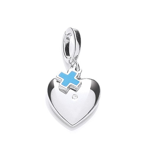 The Blue Cross animal Charity Silver Heart Charm, Set with a Cubic Zirconia with Blue Cross Tag