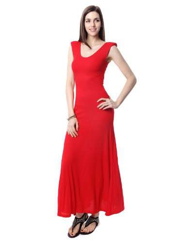 Doublju Power Shoulder Sleeveless Maxi Dress RED F