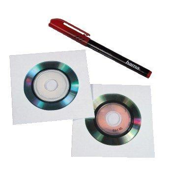 Hama 8cm/Mini-CD/Mini-DVD Paper Sleeves 25, white