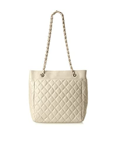 Zenith Women's Quilted Tote with Chain Strap, Bone