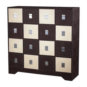 "Sterling Industries 120-005 43"" Multi Drawer Chest, Chocolate And Cream Faux Crocodile Finish"