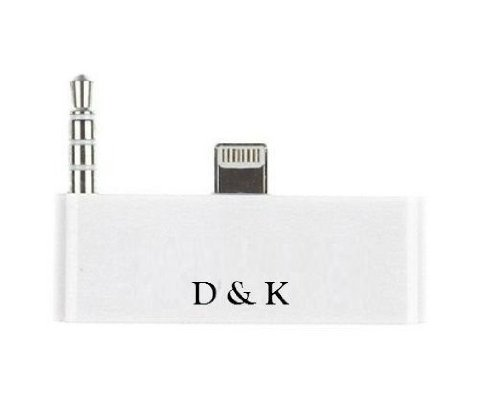 D & K Exclusives® White 30 Pin To 8 Pin Lightning 3.5Mm Audio Adapter Converter For Iphone 5 Ipod Touch 5 To Sound Dock Speaker, Like Bose, Jbl, Ihome, Ipod Nano Etc.