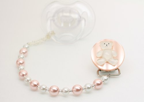 Baby Pink Teddy Bear Pacifier Clip