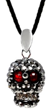 Crystal 3D Skull Pendant with silk cord necklace 16-20 inches by GlitZ JewelZ © - Black Diamond color - it takes more than 85 crystals to make this BLING!! - treat yourself or a friend with this wonderful pendant - packed in a lovely velvet pouch