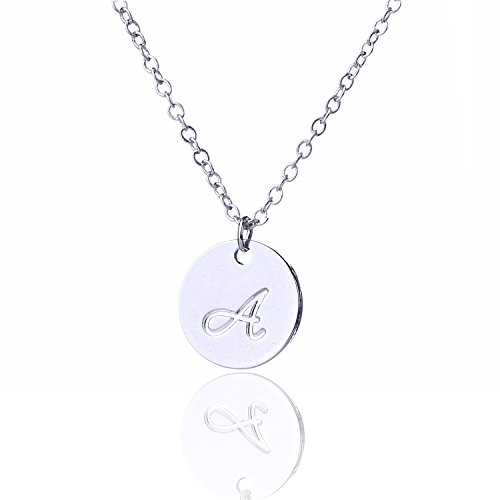 AOLO Small Script Initial Necklace Silver Initial Disc Necklaces