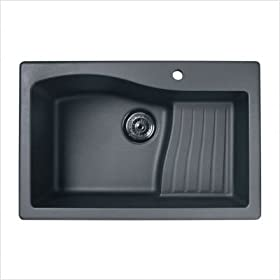 Large Granite Single Ascend Bowl Kitchen Sink Finish: Nero