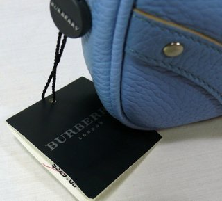 Burberry Blue Pebbled Leather Tote Bag Purse