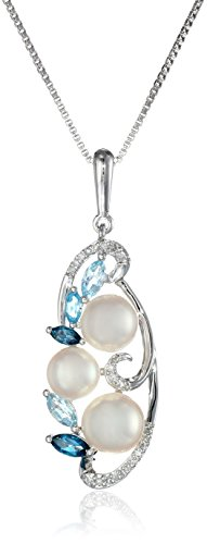 Sterling Silver Cluster Freshwater Cultured Pearl and Mixed Blue Topaz Diamond Drop Pendant Necklace (0.08cttw, I-J Color, I2-I3 Clarity) 18""