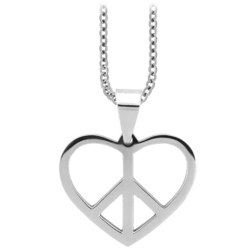 Inox Jewelry 316L Stainless Steel Heart Peace Sign Pendant