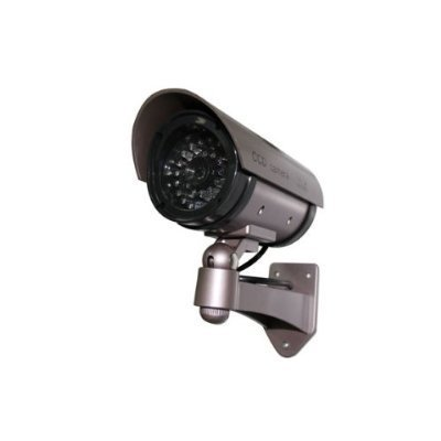 Buy Outdoor Fake/Dummy Security Camera with Blinking Light (Color: Dark Grey with hues of Purple)