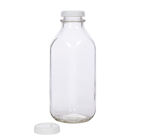Glass Milk Bottle - USA Made 33.8 oz Jug with Extra Lid (32 Ounce Glass Pitcher With Lid compare prices)