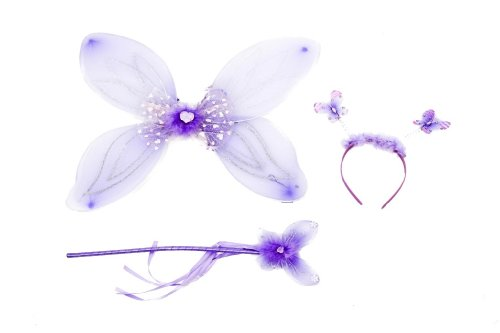 Adorable Girls Fairy Set Including Glittery Wings Butterfly Wand And HeadBand With diamanté Bouncing Butterflies In Purple