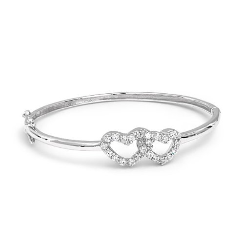 Bling Jewelry Childrens Baby Girls Sterling Interlocking CZ Hearts Bracelet Bangle 5.5in