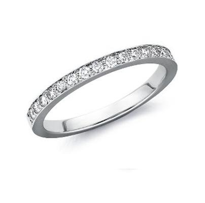 2MM 0.15CT ROUND HALF ETERNITY DIAMOND RING,9K WHITE GOLD