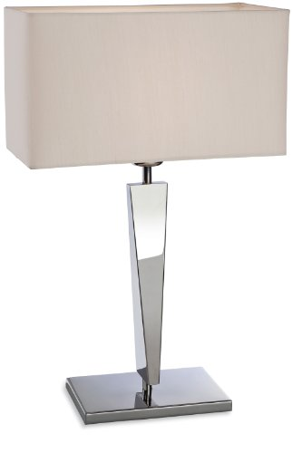 Firstlight 60 Watt 1 x E27 Mansion Table Lamp Polished Stainless Steel with Cream Shade