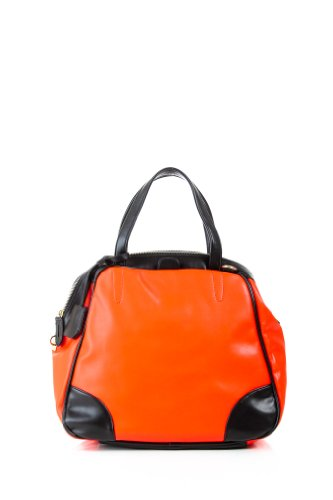 Locked and Loaded Color Block Bowler Bag in Orange and Black