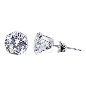 se-ro-czc-7m 7mm Round Clear Cubic Zirconia 925 Sterling Silver Post Stud Earrings